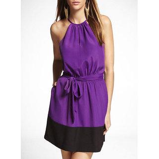 Schwof Women Crepe Purple Black Dress