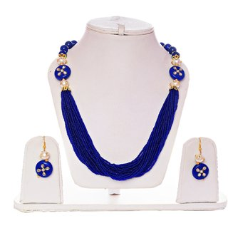 Lucky Jewellery Blue Designer Partywear Necklace Set With Earring (545-ASP2-819-BLUE)