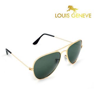 golden frame aviator sunglasses  Louis Geneve Golden Frame Finish with Green Lens Aviator ...