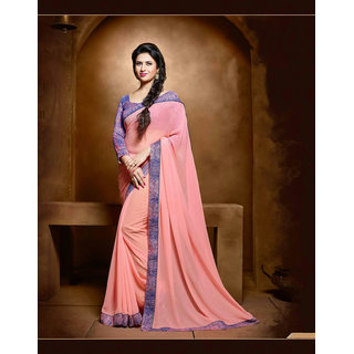 Thankar online trading Pink Georgette Embroidered Saree With Blouse