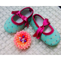 Creation,s present Sea greenbooties  with pink dotted touch for babies