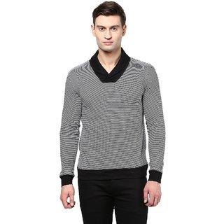 Hypernation Striped Men Shawl Collar T-shirt
