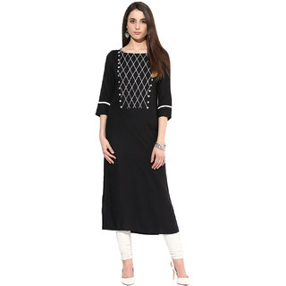 Jaipurkurti Black Rayon Regular Kurti For Women