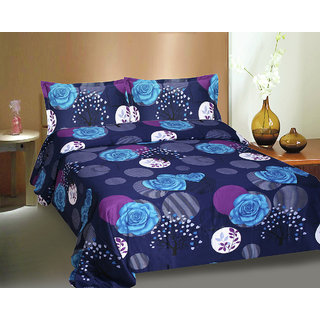 Ctm Textile Mills 100  Cotton Twill Satin Reactive Double Bedsheets(RTL-315)