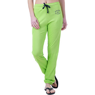 Wake UP Competition Parrot Green Solid Women Track Pant for Summer Season