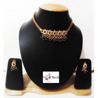 Designer Cz Diamonds And Polki Necklace Set