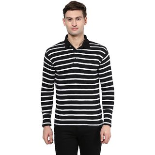 Hypernation Striped Men Polo Neck T-shirt