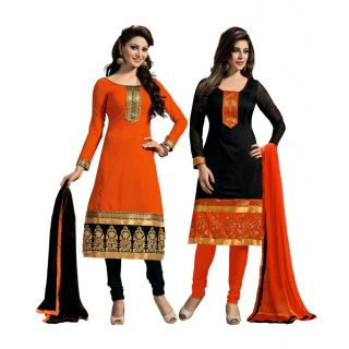 Latest Collection of 2 Pieces Combo in Chanderi Fabric  in attractive Orange  Black Color