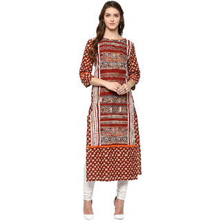 Jaipurkurti Multicolor Printed Cotton Stitched Kurti