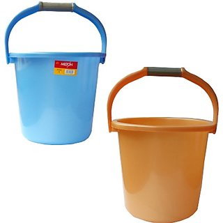 Milton New 18 L Plastic Bucket(Blue, Orange)