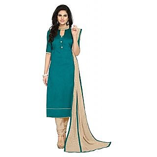 Vivels Rama color Georgette dress material with dupatta