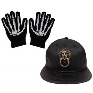 sushito Lion Black Hip Hop Cap For Men With Hand Gloves JSMFHCP1376-JSMFHHG0037
