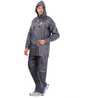 Allwin Men's Polyester Raincoat,P-127-GRAY-XL