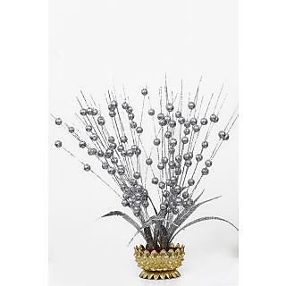 Double Silver Pearls Bunch In Lotus Golden Pot