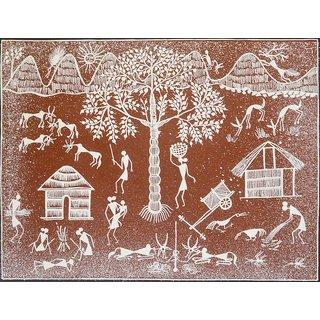 Warli Adivasi Village Painting