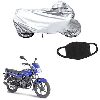 Combo of Bike Body cover for Bajaj Platina and a Pollution Mask