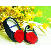 Denim shoes with rose touch.... for babies