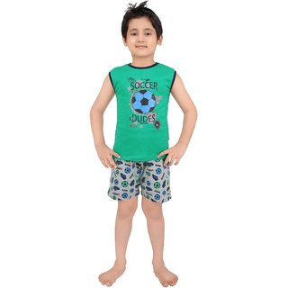 Punkster Cotton Green T-Shirt And Shorts For Boys