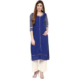Jaipur Kurtis Cotton Complete Set of Blue Kurta and Off white Rayon Palazzo