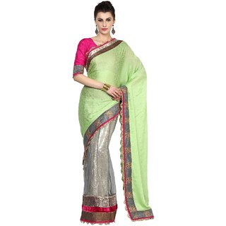 Aagaman Divine Lotus Motif Border Worked Wedding Wear Half-Half Lehenga Saree