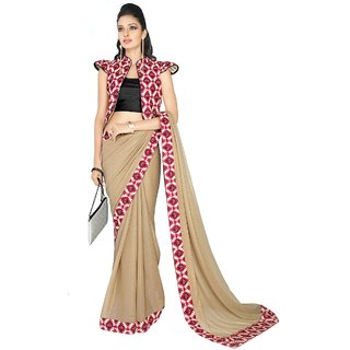 Aagaman Eyecatchy Beige Colored Printed Georgette Shimmer Saree