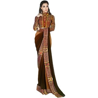 Aagaman Evoking Brown Colored Printed Faux Georgette Saree