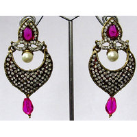 Dark Pink Drop Stone Earring