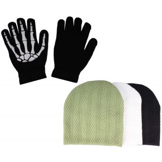 sushito Green With Black , White Wollen Caps With Hand Gloves JSMFHCP1317-JSMFHHG0037