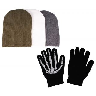 sushito Classic Colour Three Set Of Wollen Cap With Hand Gloves JSMFHCP1313-JSMFHHG0037