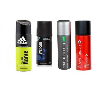Super Saver Combo 1 Addidas + 1 Axe + 1 Ucb + 1 Point Blank Deodrants