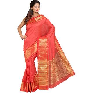SATRANG Red Tussar silk Solid Saree