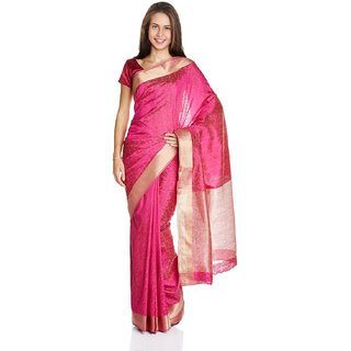 Parchayee Pink Silk, Tussar Silk Floral Print Saree Without Blouse