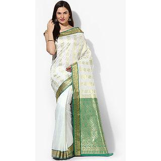 SATRANG WhiteGreen Mysore Art silk Jacquard Saree