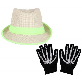 Sushito Brown With Green Lace Fidora Hat For Women With Hand Gloves JSMFHCP1305-JSMFHHG0037