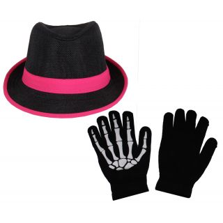sushito Black With Pink Lace Fidora Hat For Women With Hand Gloves JSMFHCP1295-JSMFHHG0037