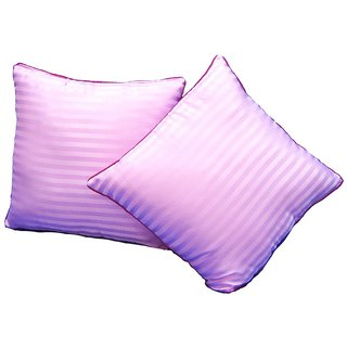 Just Linen Pair of Ready to Use Sateen Lilac Stripe Small Size Cushions