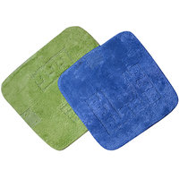 Beautiful Non Slippery Bath Mat (set Of 2) - Green And Sky Blue