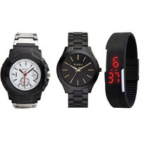 Combo Of Adidaas Watch, Rosra Black Chain Watch And Black LED Watch