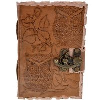 Craft Play Leather With Owl Emboss Regular Diary Hand Sewn (Tan)