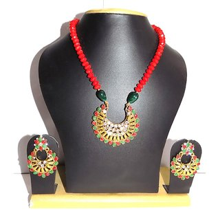 Jewels Kafe Polki Gold Plated Necklace Set with Earrings