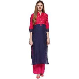 Jaipur Kurtis Cotton Complete Set of Blue Kurta and Rani Rayon Palazzo