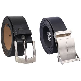 Fashno Combo Of Black Formal and Adjustable Leather Belt (FC-126)
