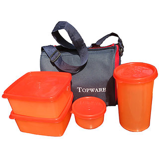 Topware Plastic Orange Lunch Box With Insulated Bag - 4 Pcs