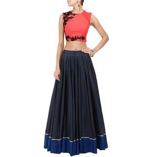 Aagaman FashionFine-looking Black Colored Embroidered Lehenga Choli