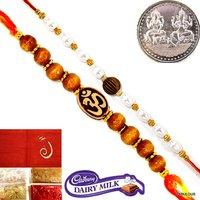 Set Of 2 Rakhi For Bhaiya Raksha Bandhan Gift+Coin+Tilak+Chocolate