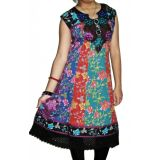 1038 Xl Party Wear Cotton Multi Colored Printed Embroidered Beautiful Neckline Long Kurti