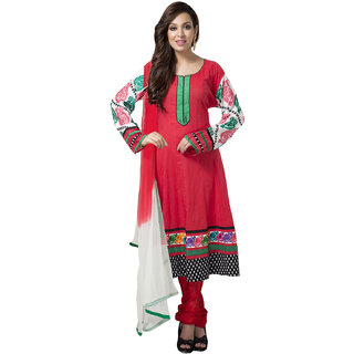 Bright Red Anarkali suit with floral lace and contrast sleeves