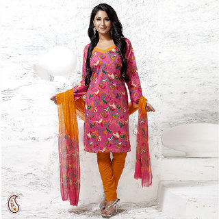 Abstract Floral Printed Cotton Suit piece in Pink