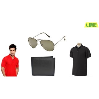 Black & Red Polo T-Shirt With Free Sunglass And Wallet