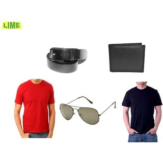 Combo Of Black & Red Round T-Shirt With Genune Leather Belt Wallet And Sunglass
